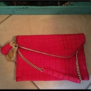 Gorgeous Red Leather Snakeskin Shoulder Purse